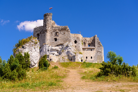 MIROW, POLAND - July 15, 2019: Ruins of Castle in Mirow village, one of the medieval castles called Eagles Nests Trail