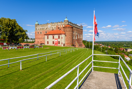 GOLUB-DOBRZYN, POLAND - July 18, 2019: Teutonic Castle in Golub-Dobrzyn erected on a hill overlooking the city, preserved in the Gothic-Renaissance style. Editorial