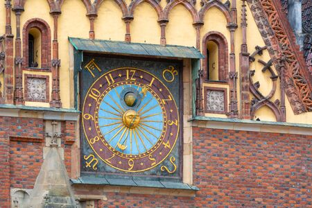 Architectural details of Gothic Old Town Hall on Market Square in Wroclaw. Poland