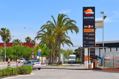 Mallorca, Spain - May 8, 2019: Repsol gas station. Repsol is a Spanish multinational oil and gas company