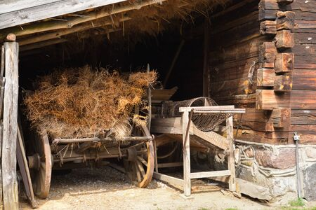 Hay cart in The Folk Culture Museum in Osiek by the river Notec. Poland, Europe