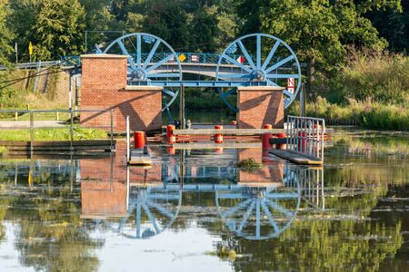 Canal of Elblag and machinery for ships in Katy village. Poland