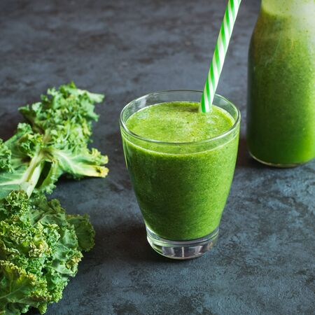 Kale smoothie with the addition of orange, lemon, pear and banana.