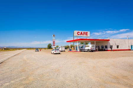 CALIFORNIA, USA - April 9, 2019: Gas station along historic Route 66 road in Californian desert. United States