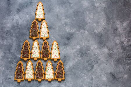 Christmas background with cookies. Christmas tree. Flat lay