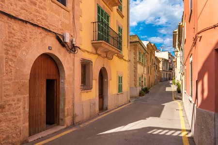 Mallorca, Spain - May 10,2019: Architecture of beautiful Alcudia Old Town in Majorca.