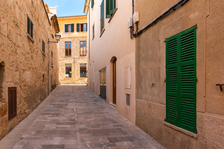 Mallorca, Spain - May 10,2019: Beautiful architecture of Alcudia Old Town in Majorca.