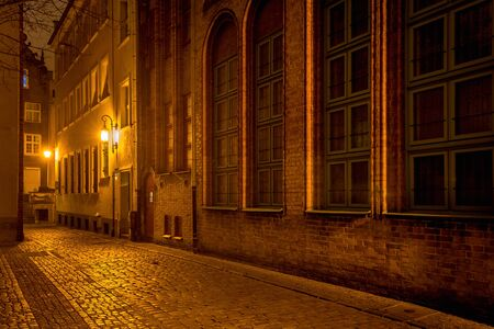 Dziana Street at night in Old Town of Gdansk. Poland, Europe