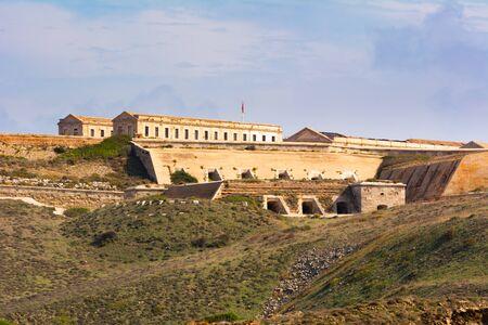 View of Fortaleza de La Mola, the biggest European fortresses built in the 19th century on Menorca. Baleares, Spain