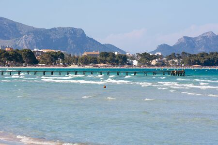 Bay of Alcudia with crystal clear waters in north part of Mallorca. Spain