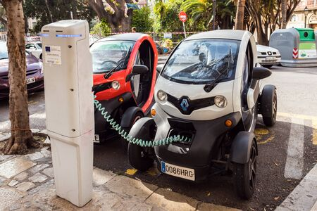 Majorca, Spain - May 8, 2019: Charging point for electric cars on the street