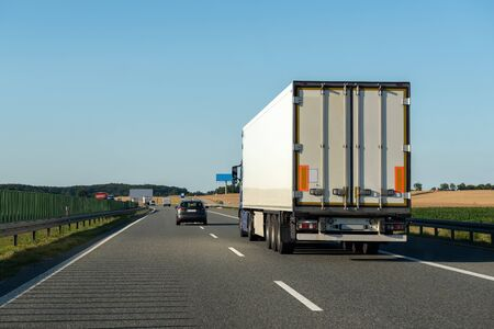 Freight truck on a highway. Concept of safe driving. 版權商用圖片
