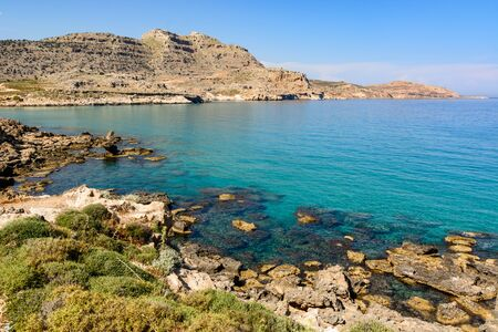 Agathi bay with crystal sea water, one of the best places on Rhodes island, Greece Stockfoto