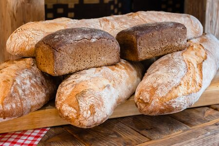 Homemade loaves of rye and wheat bread