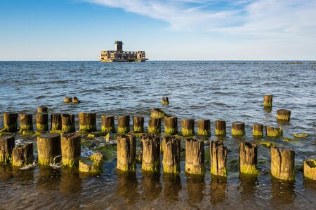 Breakwaters at Baltic Sea. The old torpedo station in Babie Doly. Poland, Europe.