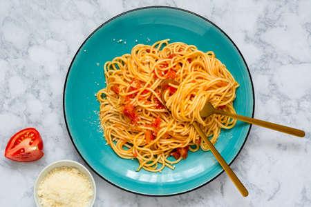 spaghetti with fresh tomato sauce and Grana Padano cheese