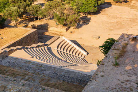 Ancient theater with marble seats. The Acropolis of Rhodes. Rhodes island, Greece