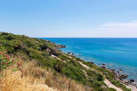 Faliraki bay. East side of Rhodes island,Dodecanese, Greece.