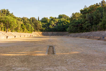 Ancient stadium, a sport place at Acropolis of Rhodes. Rhodes island, Greece