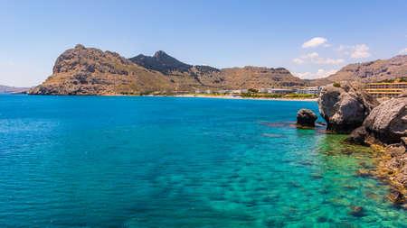 Beautiful Kolumbia bay in summer day. Rhodes island, Greece