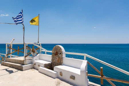 Terrace overlooking blue sea. Kolymbia harbor on Rhodes island. Greece