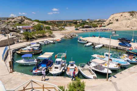 RHODES, GREECE - May 12, 2017: Fishing boats moored In Kolymbia harbor. Rhodes island. Greece