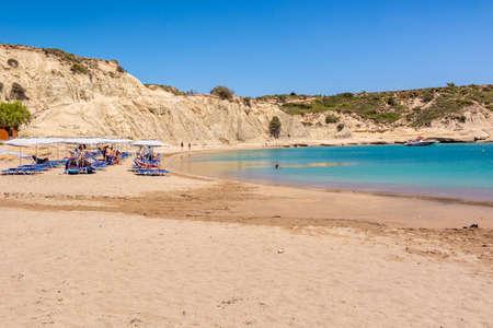 RHODES, GREECE - May 12, 2018: Sandy and quiet beach in Kolymbia village. Rhodes island. Greece Editorial
