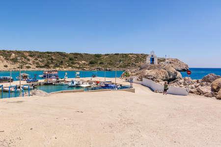 RHODES, GREECE - May 12, 2017: Sea bay and Kolymbia harbor on Rhodes island. Greece Editorial