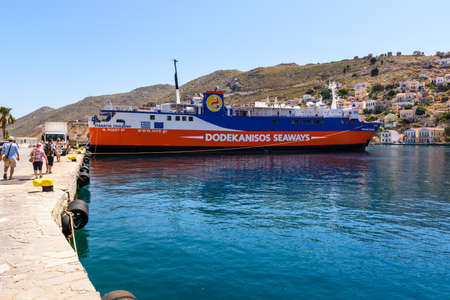 SYMI, GREECE - May 15, 2018: Dodekanisos Seaways, a Greek ferry company operating the Dodecanese Islands in the Aegean Sea.