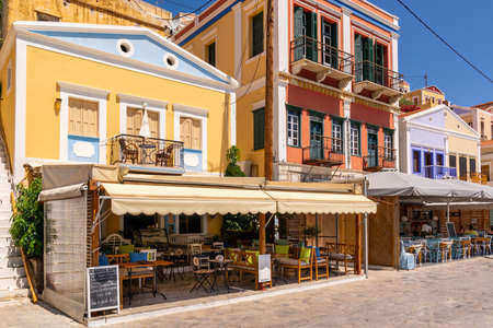SYMI, GREECE - May 15, 2018: Beautiful colorful Greek architecture on Symi island, Dodecanese, Greece