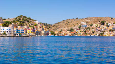 Beautiful island of Symi with a turquoise bay. Dodecanese, Greece