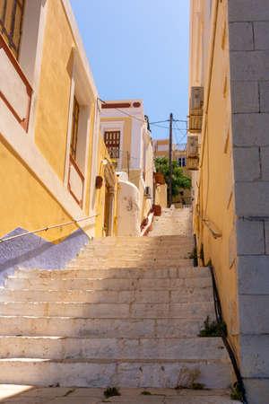 Traditional Greek architecture of Symi island, Dodecanese, Greece Standard-Bild