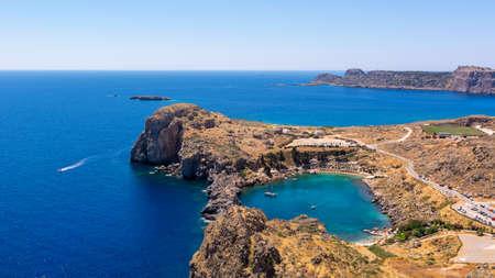 Beautiful Lindos Bay on Rhodes island, Greece