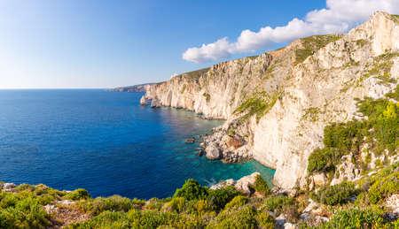 Plakaki cape with amazing cliffs on western coast of Zakynthos island. Imagens