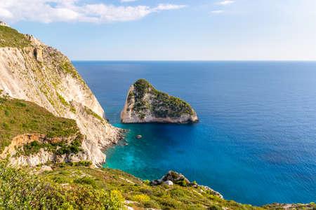 Amazing rocks in Plakaki beach near Agalas village on Zakynthos island, Greece. Imagens
