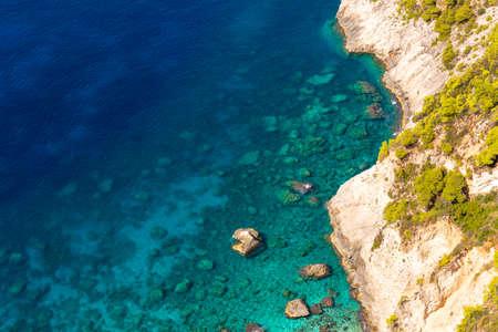 Turquoise water of Porto Schiza beach on Zakynthos island. Greece.