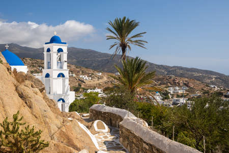Church of Virgin Mary of the Cliff in Chora town on Ios Island. Cyclades, Greece