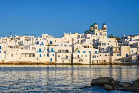 White Greek architecture of Naoussa on Paros island. Greece, Cyclades