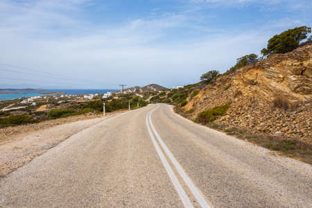Road in the south of Antiparos. Antiparos is a small, charming island of the Cyclades archipelago. Greece