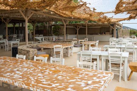 Antiparos, Greece - September 28, 2020: Soros beach restaurant on Antiparos Island. Cyclades, Greece