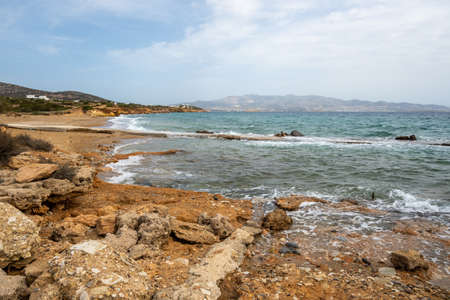 Soros beach on Antiparos Island. A wonderful beach with azure waters. Cyclades, Greece