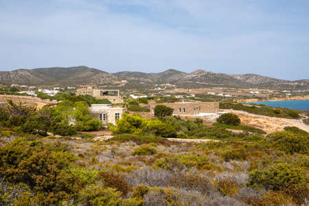 Antiparos coast. Summer villas overlooking the sea. Cyclades islands, Greece