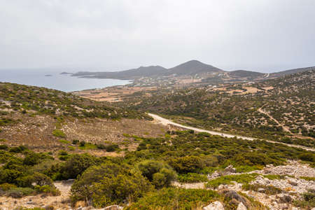 South coast of Antiparos Island. The road among the hills. Cyclades islands, Greece