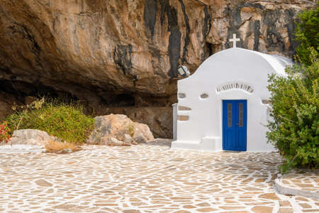 Small chapel of Agios Ioannis Spiliotis at the entrance of Antiparos Cave, on the southern side of the island. Cyclades, Greece