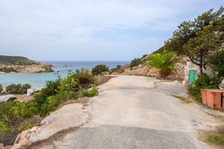 Road to the Livadia Beach on the western side of Antiparos. Cyclades, Greece