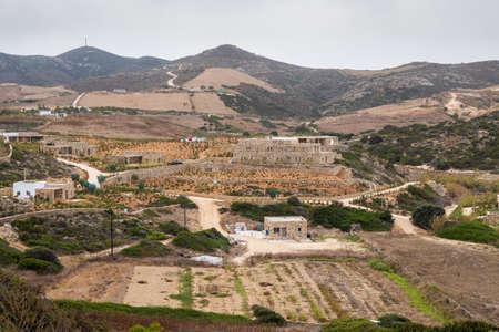 Rural landscape of Antiparos Island. Aegean Sea, Cyclades, Greece