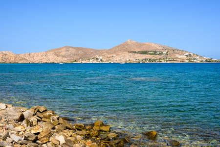 Beautiful bay with blue crystal waters. Paros island, Greece
