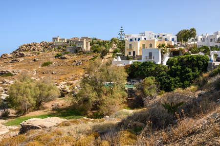 Greek houses in the Cycladic style in Naoussa village on Paros island, Greece. Cyclades. Standard-Bild
