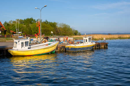 Krynica Morska, Poland - May 15, 2021: Fishing port of Krynica Morska situated on Vistula Spit between the waters of the Gulf of Gdańsk. Poland Editorial