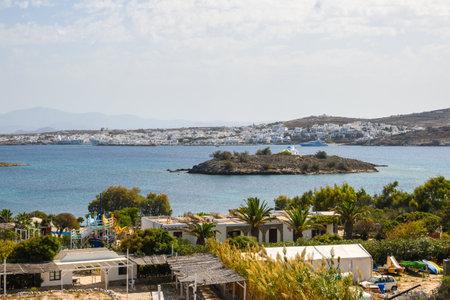 Panorama of beautiful Naoussa bay on Paros island. Cyclades. Greece, Europe